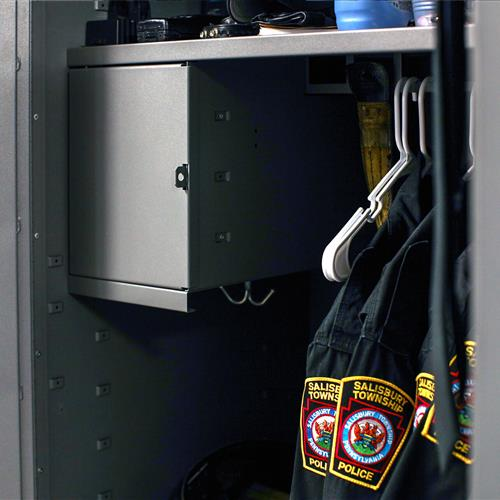 Hanging uniform storage, lockable gun locker and hooks for a personal storage experience