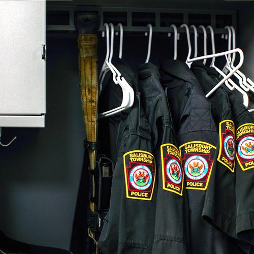 Police uniforms storage in modular personal storage locker