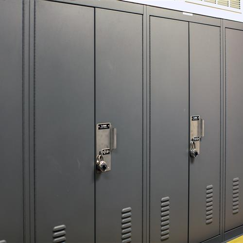Hasp locks on personal storage lockers at Salisbury Police Department