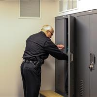 Double door access of law enforcement lockers at Salisbury Police Department