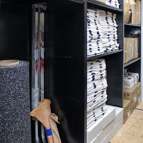 Hockey Athletic equipment stored on static shelving
