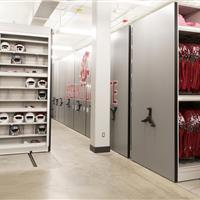 Jersey storage on haning shelves on high-density mechanical assist mobile shelving