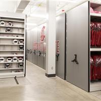 Jersey storage on haning shelves on high-density mechanical assist mobile shelving