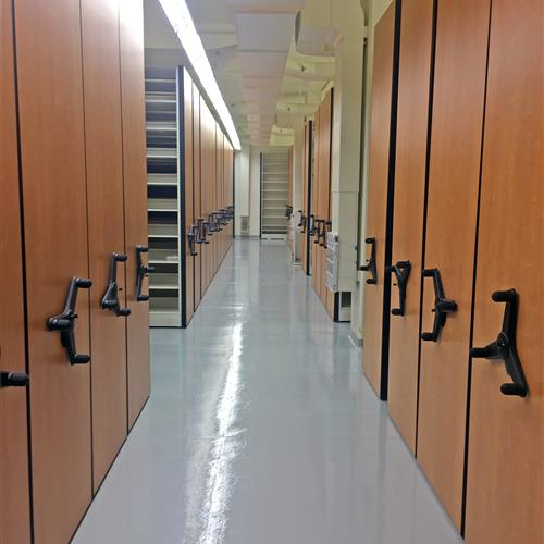 High-density mechanical assist mobile shelving at University of California - Santa barbara