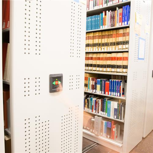 Reference book storage on compact mobile shelving system
