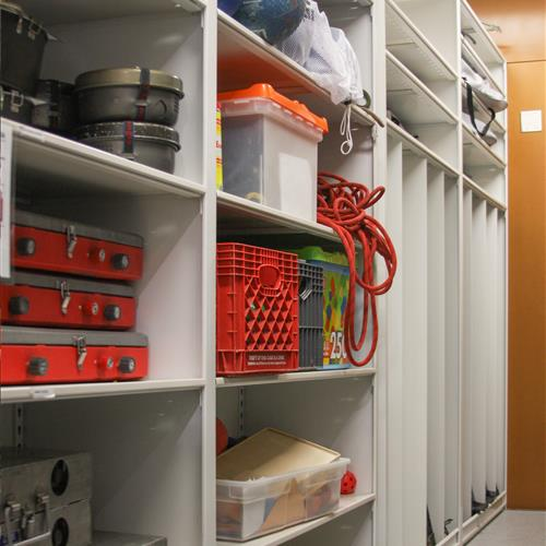 Gear storage on modular 4-post shelving at the University of Nebraska Outdoor Recreation Center