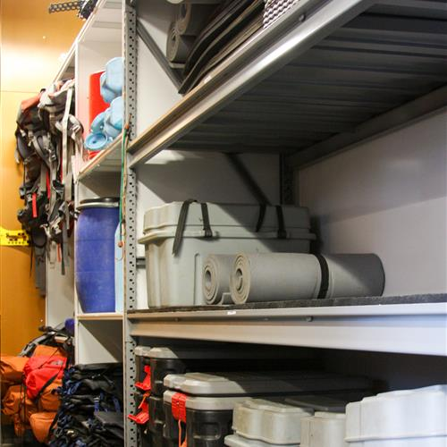 Adventure equipment on wide span shelving