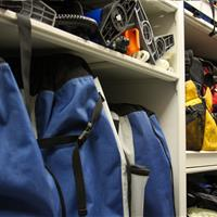 Gear bags on modular shelving