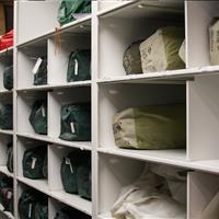 Adventure gear on high-density 4-post bin shelving