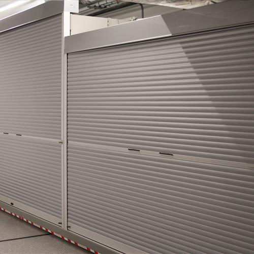 Rollock doors add extra security to the end of the mobile system by enclosing the shelving