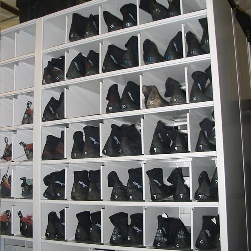 Recreational footwear on 4-post bin shelving