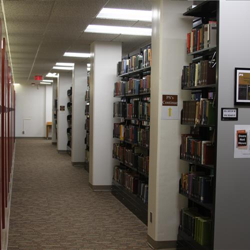 cantilever shelving for book storage at Creighton University