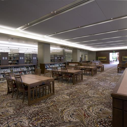 Church of Latter Day Saints History library with static shelving for library book storage