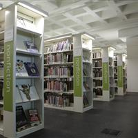 Library filing on cantilever bookstack shelving