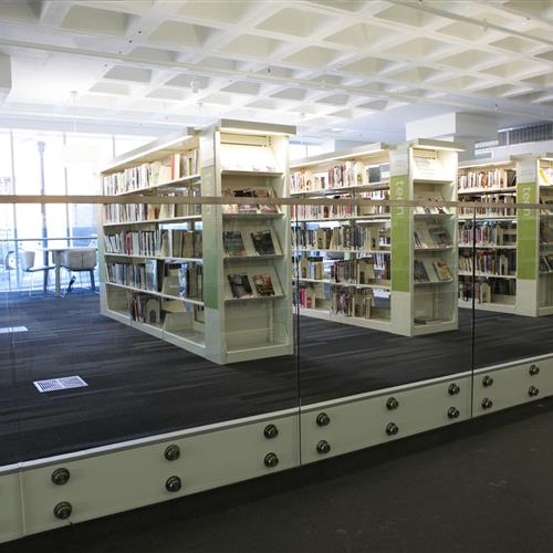 Library book storage on cantilever at Madison Public Library