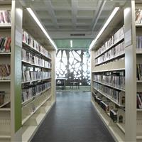DVD media collection on cantilever shelving at Madison Public Library