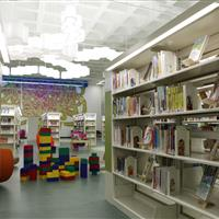 Bookstacks using cantilever shelving at Madison Public library