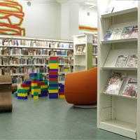 Library books on static cantilever shelving