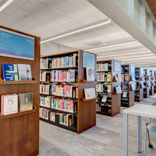 Libary book storage on cantilever shelving