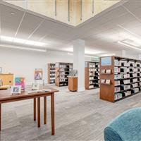 Book storage on cantilever shelving at Park City Library