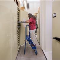 Artifacts preserved in storage cabinets with drawer attchment