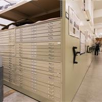 High-density drawer system on mechanical assist mobile shelving