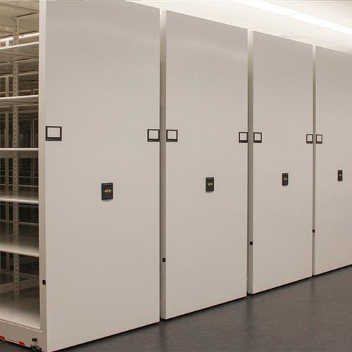 High-density compact storage system with 4-post shelving