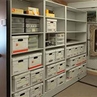 Archival Supplies on mechanical mobile shelving