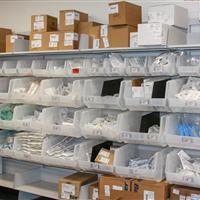 FrameWRX modular bin shelving holding medical supplies at Omaha Children's Hospital