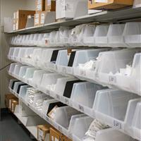 Modular bin shelving at Omaha Children's Hospital