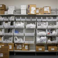 Medical supplies on FrameWRX bin shelving
