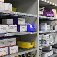 Healthcare supplies on mobile wire shelving