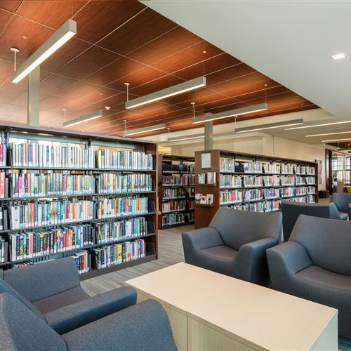 Comfortable reading area at Marmalade Public Library