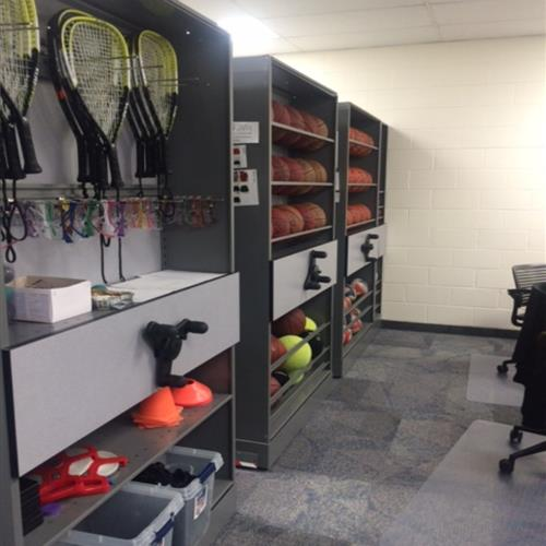Athletic equipment storage on a high density mobile system