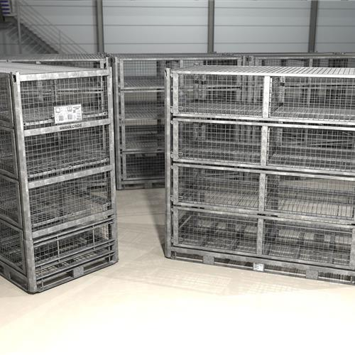 Large SharkCage in Warehouse with 4-way fork lift access
