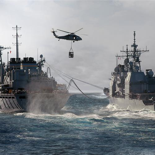 Sling loaded SharkCage for underway replenishment
