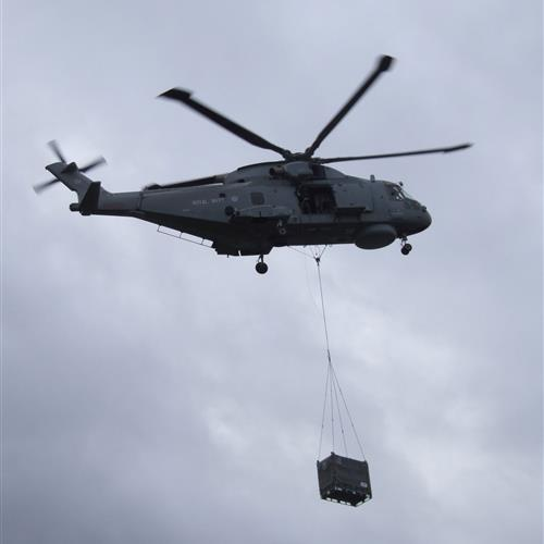 Helicopter lift of SharkCage