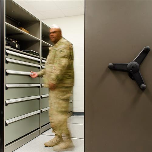 High-Density Mobile Shelving for National Guard Storage