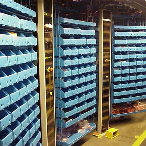 Modula Horizontal Carousel with Blue Storage Bins