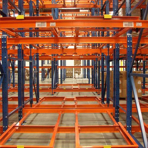 Push Back Systems Orange Racking Side Angle