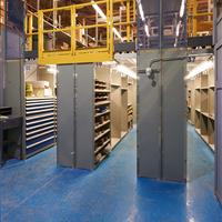 Multilevel industrial shelving with 3 units visible
