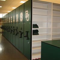 Football Storage on Mobile Shelving at Baylor University