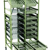 Supply rack storage cart with modular drawers and baskets