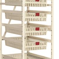 High density storage rack cart with baskets