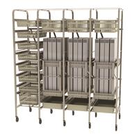 Easily configurable materials storage cart with baskets and pull out shelves