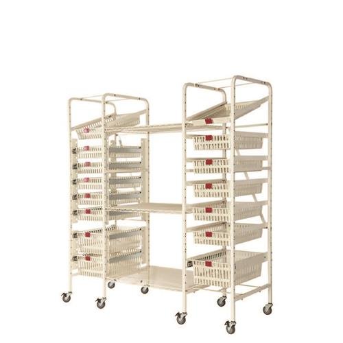 open rack cart will fit 30 baskets or configure according to need