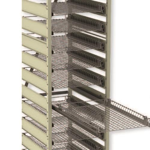 Healthcare storage rack cart with pull out shelves