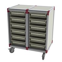 materials cart with baskets can be configured to include doors and telescopic slides to handle IV's and instruments
