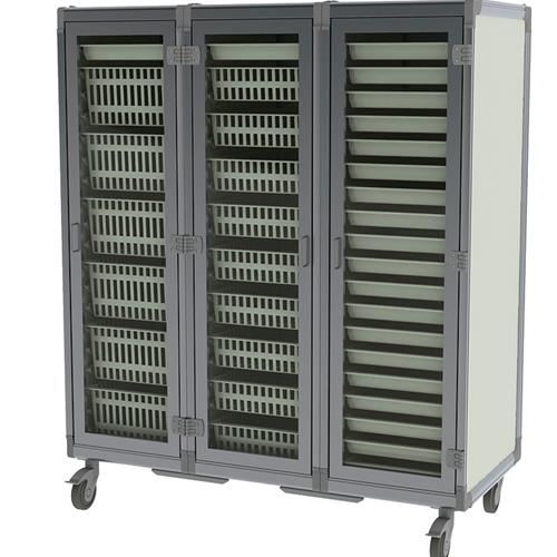 Materials storage cart with baskets and glass doors, all parts are modular and re-configurable