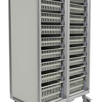 Materials cart with pull out baskets, no doors for easy visibility. Doors can be added to cart